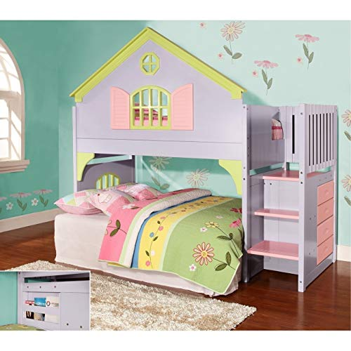 (Donco Kids Twin Doll House Loft Bed with Staircase)