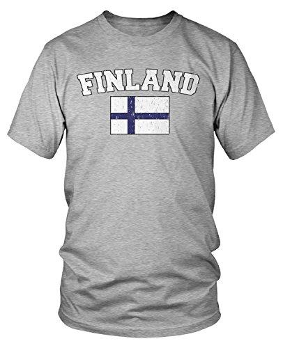 Amdesco Men's Finnish Finn Flag, Home Flag of Finland T-Shirt, Heather Gray Large
