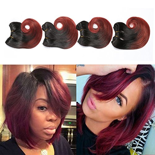 - 1b/33 Ombre Weave Human Hair Extensions Short Body Wave Bundles Two Tone Brazilian Hair 6