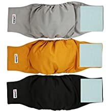 Wegreeco Washable Male Dog Belly Wrap - Pack of 3 - (Gold,Black,Grey,X-small)