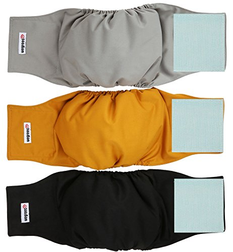 Wegreeco Washable Male Dog Belly Wrap - Pack of 3 - (Gold,Black,Grey,Medium) ()