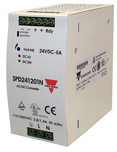 CARLO GAVAZZI SPD241201N DIN Rail Mount Switching Power Supply, 63.2 mm Wide, 90-264 VAC or 210-370 VDC Supply Voltage, Adjustable 24 VDC, 5 amp, 120 W Output, 86% Efficiency, PFC and Parallel Output Function, Power Ready Output, IP20 Cover, Diagnostic LEDs, 31.7 oz. Size, 160 mm Height x 88 mm Width x 160 mm Diameter (Supply Rail Mount Power Din)