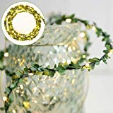 Katuae Leaf String Lights Christmas Strip Light Waterproof Warm White Light Decoration Lamp for Outdoor Garden Patio Home Yard Party Wedding Curtain Indoor Bedroom (50 LEDs, 5m)