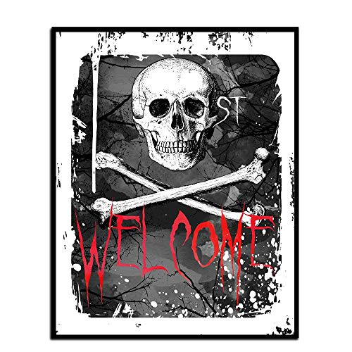 MalertaART Welcome Halloween Poster Printable Halloween Poster Skull Wall Art Skull Halloween Print Halloween Decor Halloween Home DecorSkull Art Framed Wall Art
