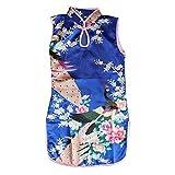 Weixinbuy Kid Girls Sleeveless Peacock Printed Chinese Cheongsam Dress