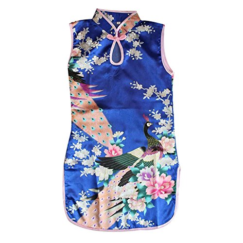Weixinbuy Kid Girls Sleeveless Peacock Printed Chinese Cheongsam Dress Deep Blue