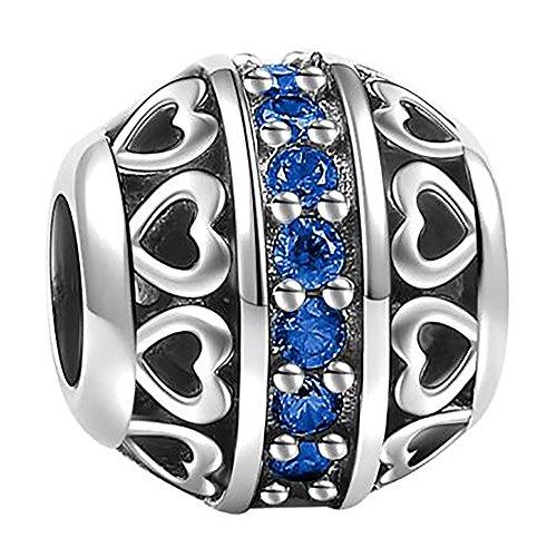 SOUFEEL September Birthstone Charm Dark Blue 925 Sterling Silver Charms Fit Bracelet Necklace