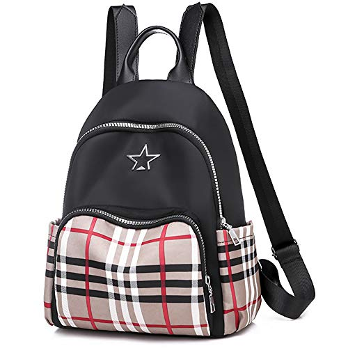 746 Oxford - LCZHP Plaid Contrast Backpack, Oxford Waterproof, Lightweight Body, Comfortable and Portable, Suitable for Daily Travel/Going to School