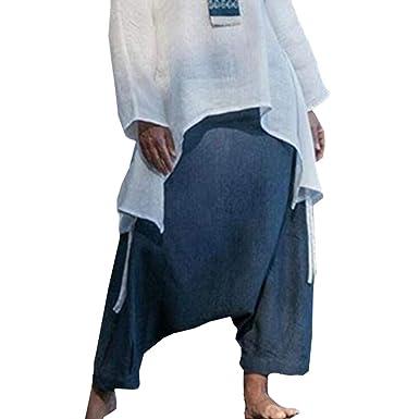 Mujer Hippie Pantalones de Harén Retro Suelto Pantalones de Playa ...