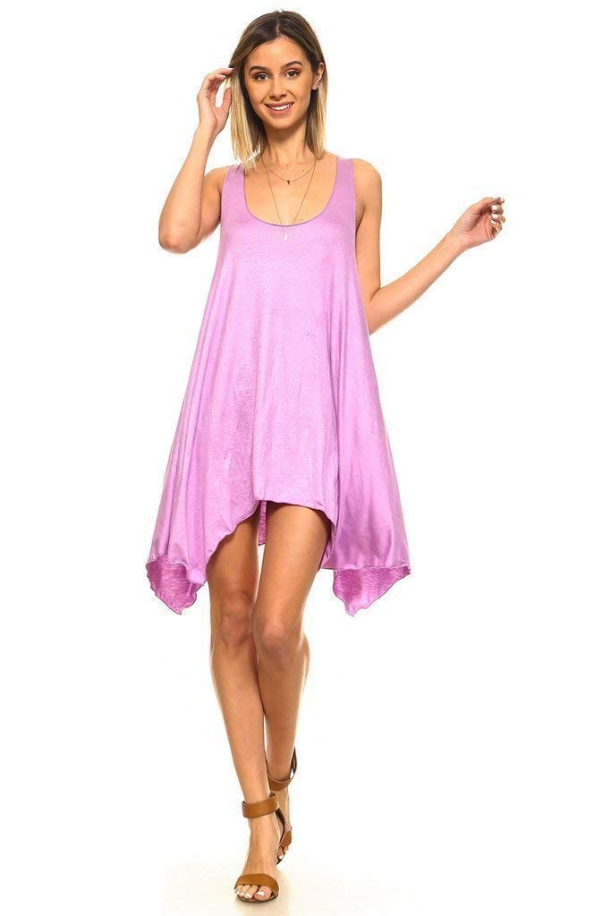 Simplicitie Women's Sleeveless Swing Flare Dress Tunic Tank Top - Regular and Plus Size - Orchid - Made in USA