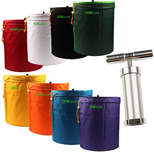 Casolly 5-Gallon 8-Bag Herbal Ice Bubble Hash Bag Essence Extractor Kit with Carrying Bag & Pressing Screen, Include 5.5 inch Heavy Duty Pollen Press ()