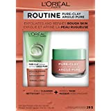 L'Oreal Paris Pure-Clay Cleansing Mask + Cleanser Kit with 3 Mineral Clays + Red Algae, Exfoliates and Refines Rough Skin, 190 ml