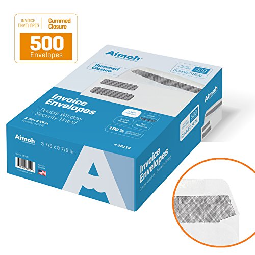 500 INVOICE Double Window Security Business Envelopes (NOT FOR CHECKS) - GUMMED Closure, 24lb, 3⅞