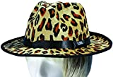Loftus Adult Leopard Print Velvet Fedora Costume Hat, Brown Tan Black, One Size