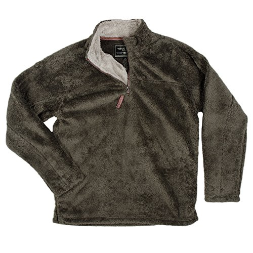 True Grit Men's Double Plush 1/4 Zip Pullover, Cargo, Large (Frosty Pebbles)
