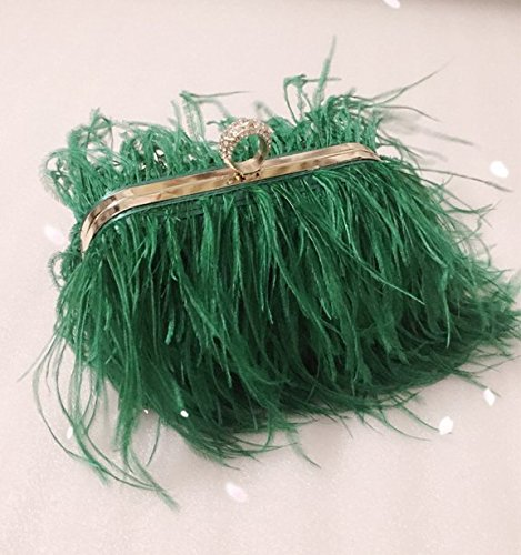 Bag Party Green Evening Real Bag Feather Natural Ostrich Shoulder Clutch Zakia qzw1CFpx