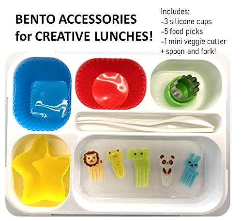 Bento Box Accessories For Kids: Bento Box With Accessories For Kids, Leakproof (Blue With