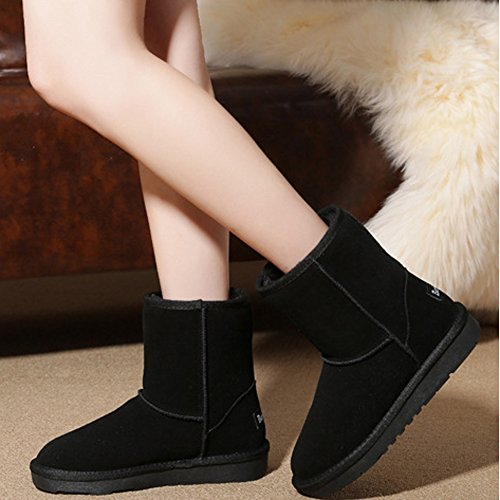 Snow Winter Black Antiskid Women's Calf Thick and BERTERI Boot Fur Mid Warm Boots ax1gaI
