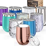 Wine Tumbler Vacuum Insulated Stemless - THILY 12 oz Triple-Insulated Stainless Steel Wine