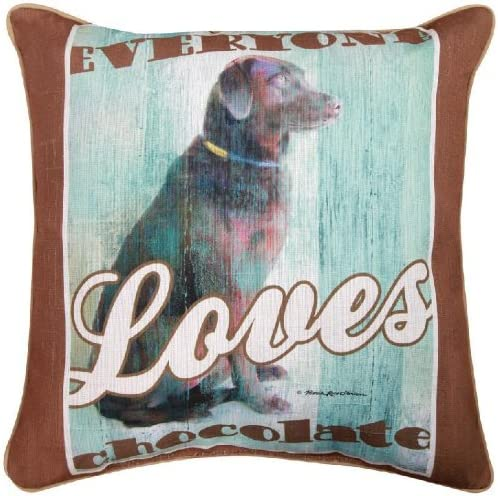 Manual Dog Crossing Chocolate Lab Decorative Square Pillow, 18-Inch