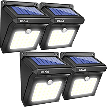 BAXIA TECHNOLOGY Solar Lights Outdoor, Wireless LED Solar Motion Sensor Lights,Waterproof Security Lights for Outdoor Gate,Deck,Step,Wall,Yard,Fence,Patio,Garden,Driveway(28LEDs,4 Packs)