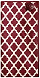 Maroon & Ivory Geo Print w/ Maroon Button Mens Pocket Square by The Detailed Male