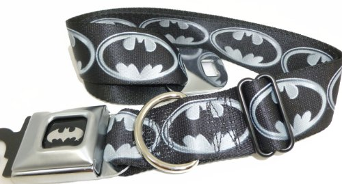 "Batman Gray Logo Seat Belt Buckle Dog Collar 1.5"" 13-18"""