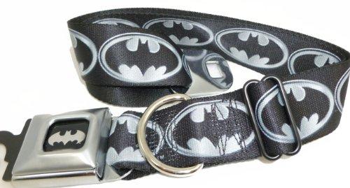 "Batman Gray Logo Seat Belt Buckle Dog Collar 1.5"" 13-18"""