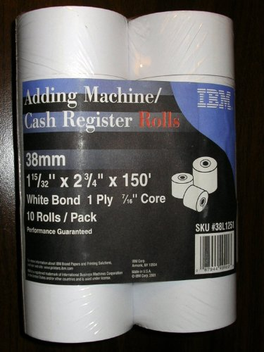 IBM 10 Pack 38mm Adding Machine & Cash Register Rolls - 150 x 2-3/4 x 1-15/32