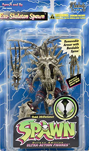 1996 - McFarlane Toys - Spawn - Exo-Skeleton Spawn Action Figure - Black & Gray - Removable Armor w/Bendable Spine - Collectible - Rare (Spine Removable)