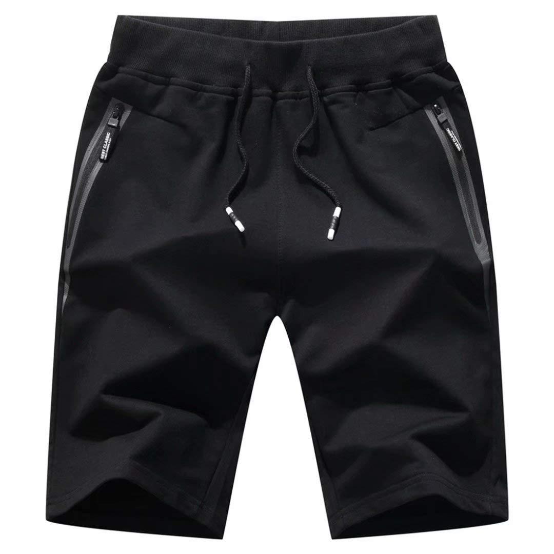 STICKON Mens 7'' Inseam Workout Shorts Elastic Waist Drawstring Summer Casual Short Pants Zipper Pockets (Black, Medium) by STICKON
