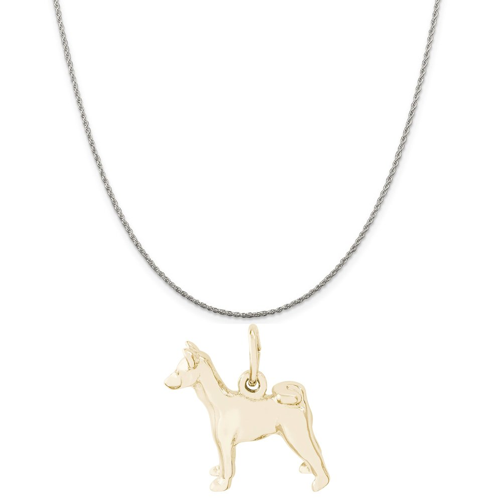 18 or 20 inch Rope Rembrandt Charms Two-Tone Sterling Silver Basenji Charm on a Sterling Silver 16 Box or Curb Chain Necklace