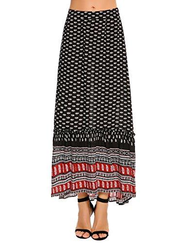Zeagoo Women African Printed Casual Maxi Skirt Flared Skirt (Printed Maxi Skirt)