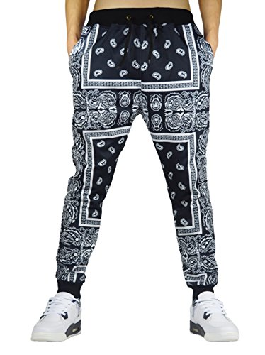 Westkun Drawstring Joggers Pants with Pockets Pattern 1 S ()