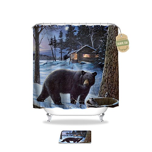 Colorful Star Black Bear Design Shower Curtain,Waterproof&Antibacterial&Eco-Friendly made of 100% Polyester Fabric,Non Toxic, Odor Free, Rust Proof Grommets 60