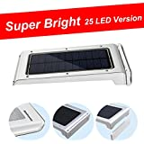 [Solar Motion Sensor Light] Ankway Upgraded (Super Bright 25 LED & Waterproof) Wireless Outdoor LED Light Solar Energy Powered - Weatherproof - Motion Sensor-detector Activated / for Patio, Deck, Yard, Garden, Home, Driveway, Stairs, Outside Wall / Wireless Exterior Security Lighting (No Battery Required)