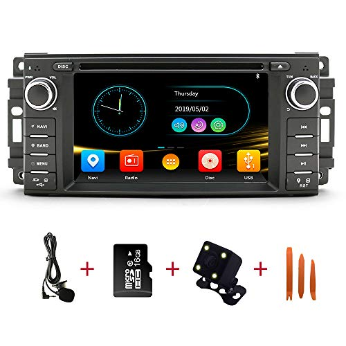 Car Stereo Radio in Dash Navigation for Dodge Ram Challenger Chrysler Jeep Wrangler,6.2 inch Touchscreen Single Din DVD Player Bluetooth with Rear View Camera,16GB SD Card,3.5mm Mic,Crowbar (Challenger Radio)