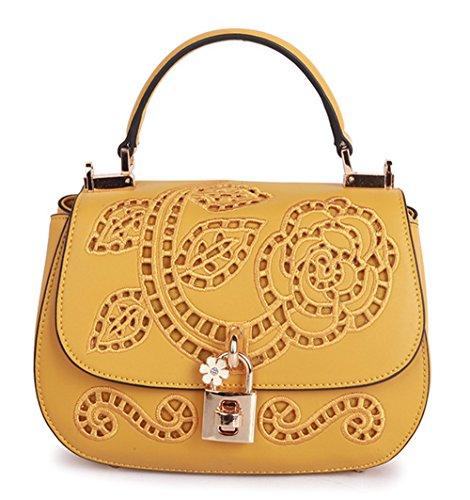 La mujer Xinmaoyuan bolsos de cuero Bolsos de cuero de vaca Mini Bolsa BORDADO Bordado bolsos retro, gris Amarillo