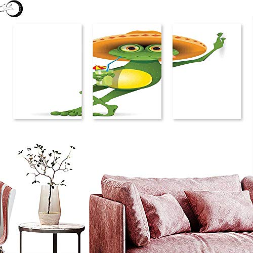 J Chief Sky Cartoon Wall Decoration Frog in a Sombrero and a Cocktail Drink Glass Fauna Hot Weather Holiday Wall Painting Fern Green Apricot Triptych Art Canvas W 12