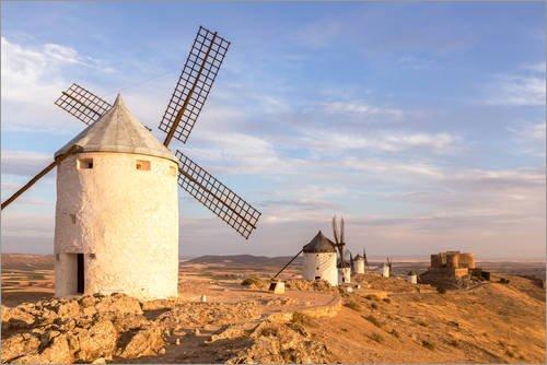 Posterlounge Lienzo 60 x 40 cm Windmills in Castilla La Mancha, Spain de Matteo Colombo - Cuadro Terminado, Cuadro sobre Bastidor, lamina terminada sobre Lienzo autentico, impresion en Lienzo