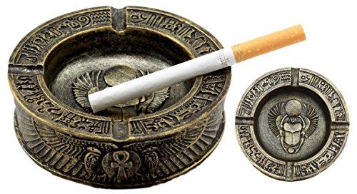 Cigarettes Egyptian - Ebros Gift Egyptian Hieroglyphs Ankh Dual Cobra Winged Scarab Ashtray Figurine 4