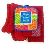Wipe Your Paws Animal Lover 6 Piece Kitchen Linen Towel & Pot Holder Set