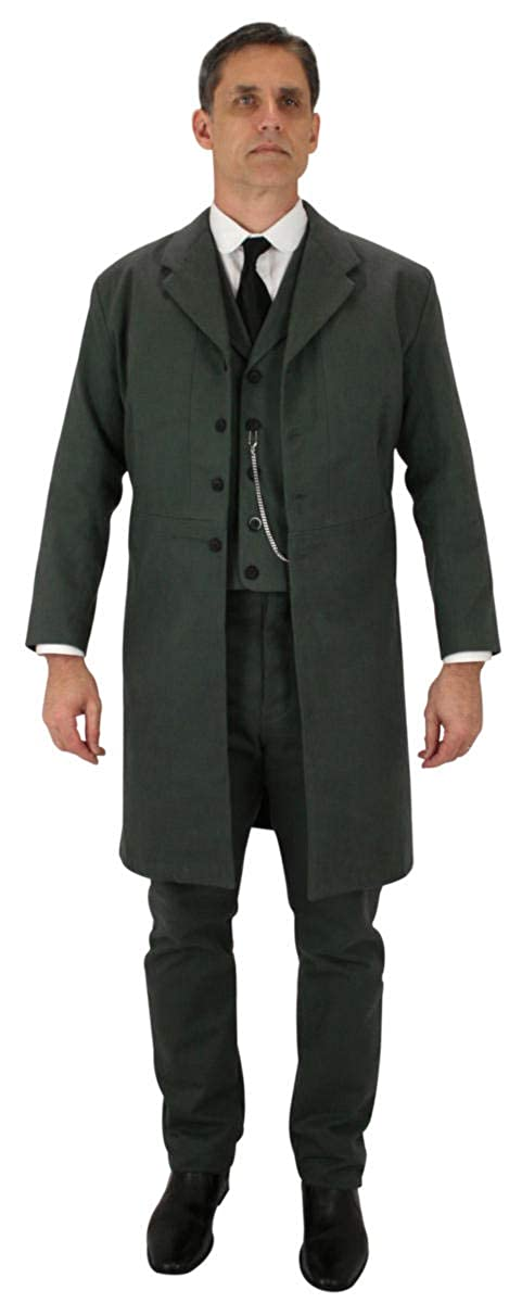 Men's Steampunk Jackets, Coats & Suits Cotton Frock Coat Historical Emporium Mens 100% Brushed $149.95 AT vintagedancer.com