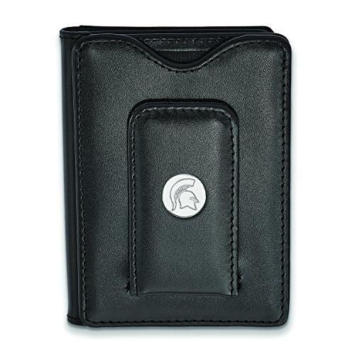 Lex and Lu LogoArt Sterling Silver Michigan State University Black Leather Wallet SS054MIS-W1 from LogoArt