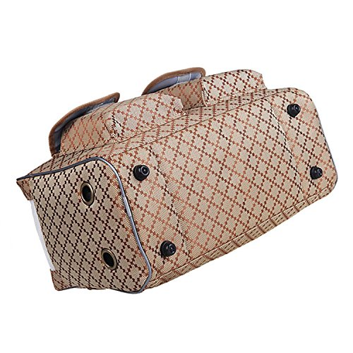 BETOP-HOUSE-Pet-Dog-Puppy-Cat-Kitty-Carrier-Tote-Travel-Handbag-Khaki-Checks-Pattern