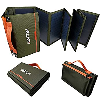 Image of Solar Chargers AIMTOM Portable Solar Charger – 60W Foldable Solar Panel with 5V USB and 18V DC for iPhone, Tablet, Laptop, Camera, Cell Phone, GPS and 5-18V Devices – Compatible with Solar Generators Power Stations