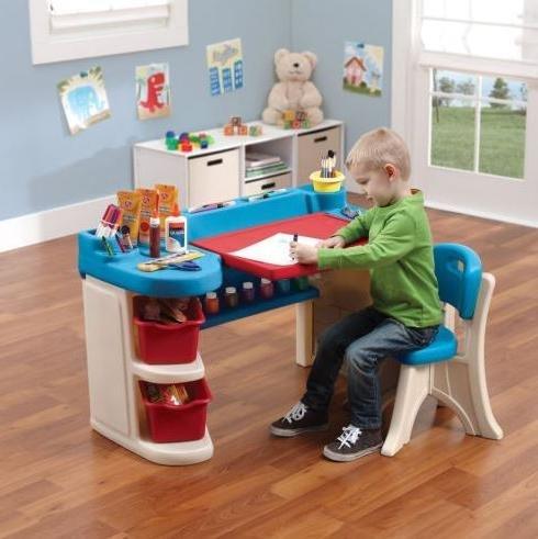 Drawing Desk for Kids with One椅子ペイントアクティビティプラスチック幼児用家具おもちゃテーブル屋内使用