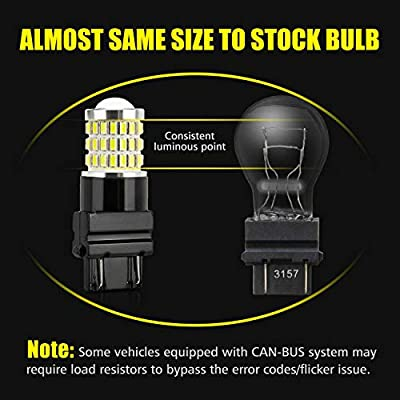 AUXLIGHT 3157 3156 3057 4157 3157K LED Bulbs Xenon White, Ultra Bright 57-SMD LED Replacement for Back Up/Reverse Lights, Brake/Tail Lights, Turn Signal/Parking or Running Lights (Pack of 2): Automotive