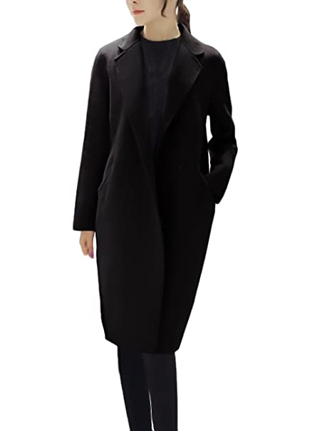 Mujer Parkas Largas Elegante Invierno Otoño Abrigos De Paño Niña Niñas Ropa Manga Larga Cuello De Solapa Bolsillo Coat Color Sólido Moda Slim Fit Termico ...