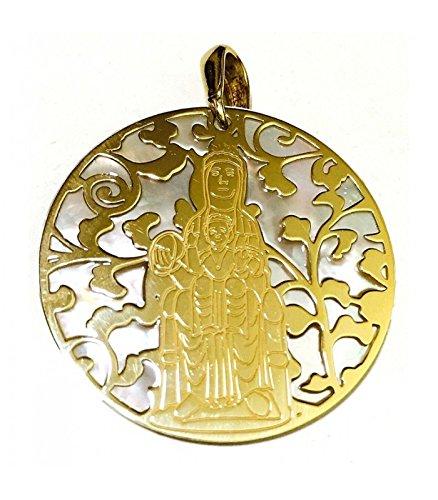 Médaille Vierge de Montserrat Argent Plaqué Or et Nacar 40mm